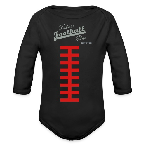 Football Laces for Baby 2 - Organic Long Sleeve Baby Bodysuit