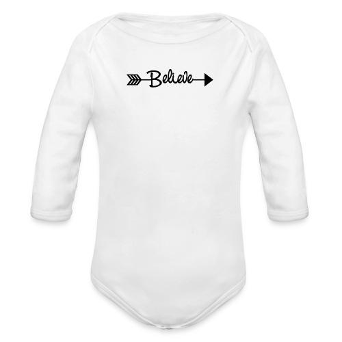 Believe Arrow Black - Organic Long Sleeve Baby Bodysuit