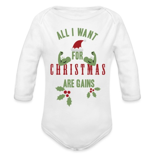 All i want for christmas - Organic Long Sleeve Baby Bodysuit