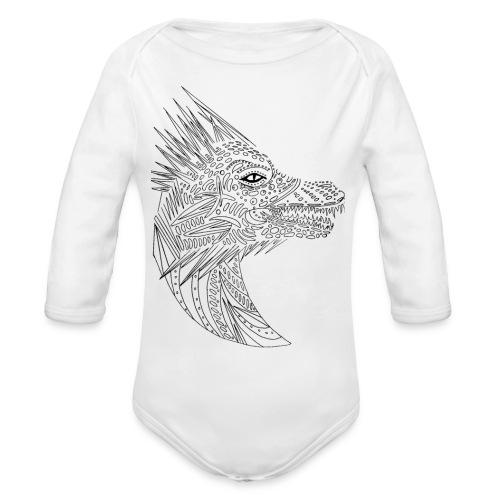 black art deco dragon head - Organic Long Sleeve Baby Bodysuit
