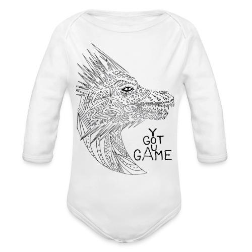 "Dragon ""you got game"" - Organic Long Sleeve Baby Bodysuit"