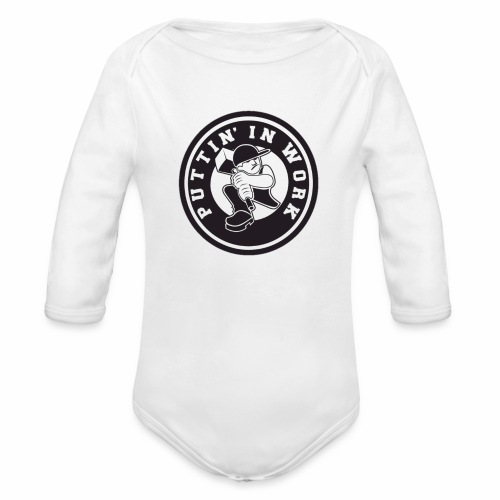 Solid Puttin' In Work Logo - Organic Long Sleeve Baby Bodysuit