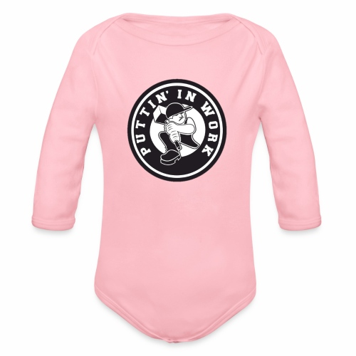 Solid Puttin' In Work Logo - Organic Long Sleeve Baby Bodysuit