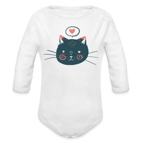 Cat Face by Kelsey King - Organic Long Sleeve Baby Bodysuit