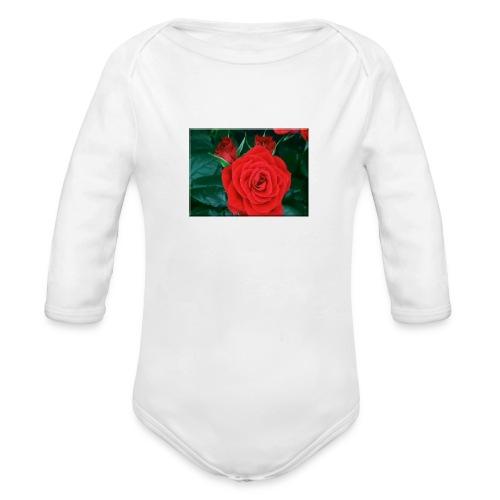 111885 Blooming Roses - Organic Long Sleeve Baby Bodysuit