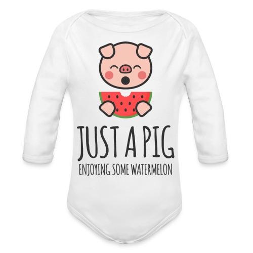 Just A Pig Enjoying Some Watermelon - Organic Long Sleeve Baby Bodysuit
