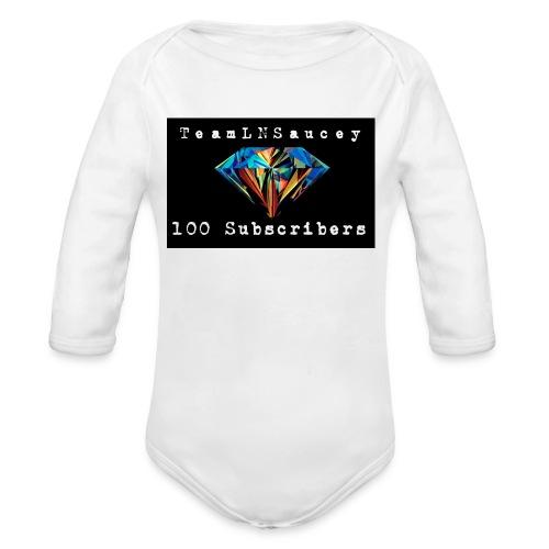100 Subscribers T-Shirts - Organic Long Sleeve Baby Bodysuit