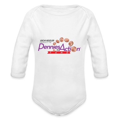 Pennies In Action Logo - Organic Long Sleeve Baby Bodysuit