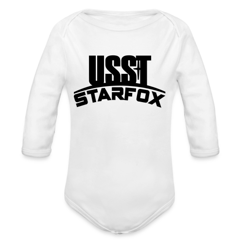 USST STARFOX Text - Organic Long Sleeve Baby Bodysuit