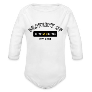Property of Brazzers logo outline - Long Sleeve Baby Bodysuit