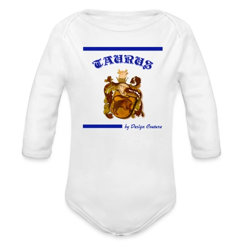 TAURUS BLUE - Organic Long Sleeve Baby Bodysuit
