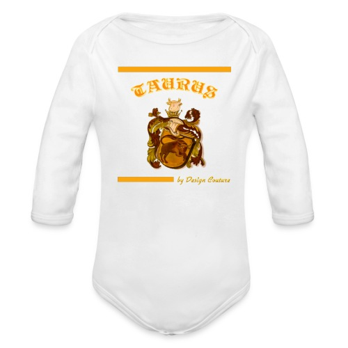 TAURUS ORANGE - Organic Long Sleeve Baby Bodysuit