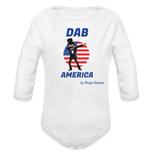 DAB AMERICA BLUE - Organic Long Sleeve Baby Bodysuit