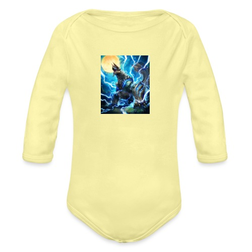Blue lighting dragom - Organic Long Sleeve Baby Bodysuit