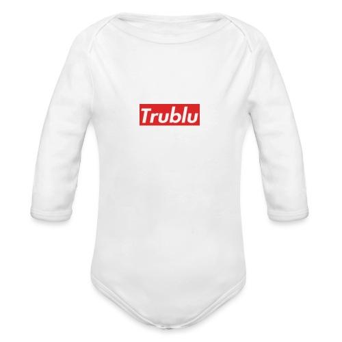 Trublu red box logo.(small) - Organic Long Sleeve Baby Bodysuit