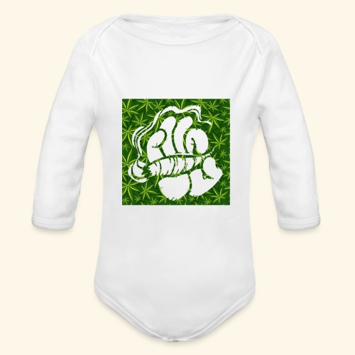 Hand with a joint - smoking weed 420 lifestyle - Organic Long Sleeve Baby Bodysuit