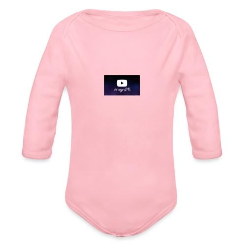 my life is youtube poster - Organic Long Sleeve Baby Bodysuit