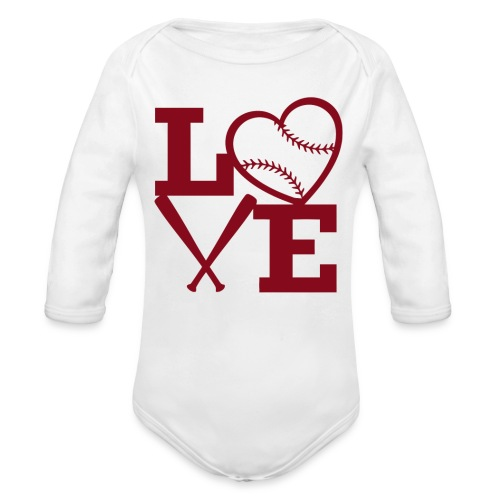 Love baseball - Organic Long Sleeve Baby Bodysuit