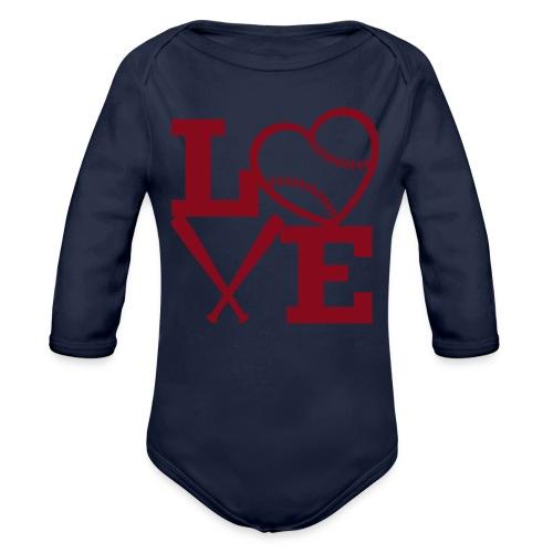 Love baseball - Organic Long Sleeve Baby Bodysuit