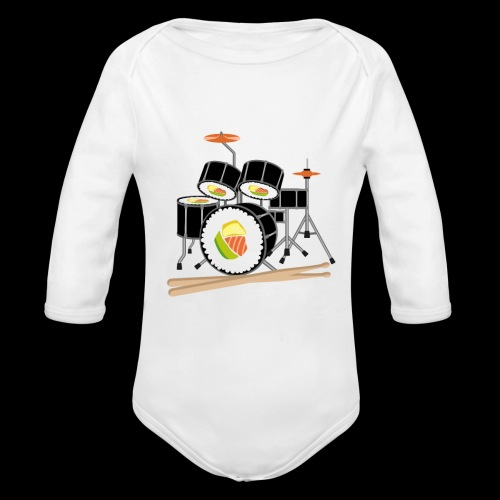 Sushi Roll Drum Set - Organic Long Sleeve Baby Bodysuit