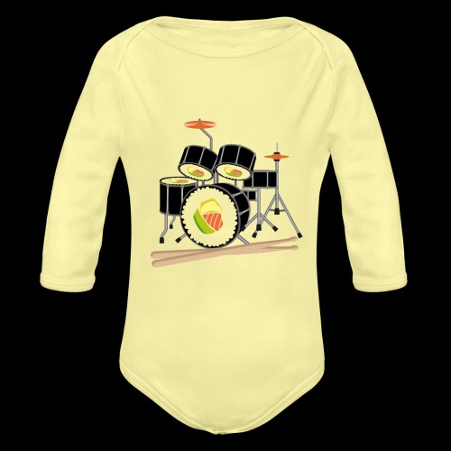 Sushi Roll Drum Set - Organic Long Sleeve Baby Bodysuit