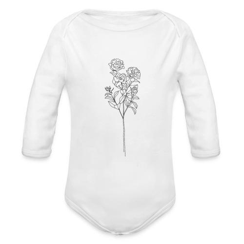 Minimal Floral Line Art Print - Organic Long Sleeve Baby Bodysuit