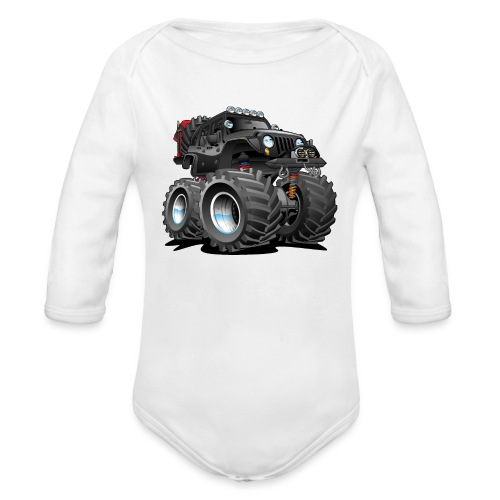 Off road 4x4 black jeeper cartoon - Organic Long Sleeve Baby Bodysuit