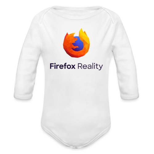 Firefox Reality - Transparent, Vertical, Dark Text - Organic Long Sleeve Baby Bodysuit