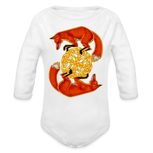 Circling Foxes - Organic Long Sleeve Baby Bodysuit