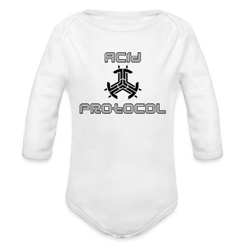 ACID PROTOCOL OFFICIAL LOGO BLACK - Organic Long Sleeve Baby Bodysuit