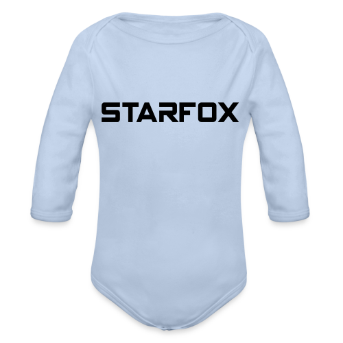 STARFOX Text - Organic Long Sleeve Baby Bodysuit