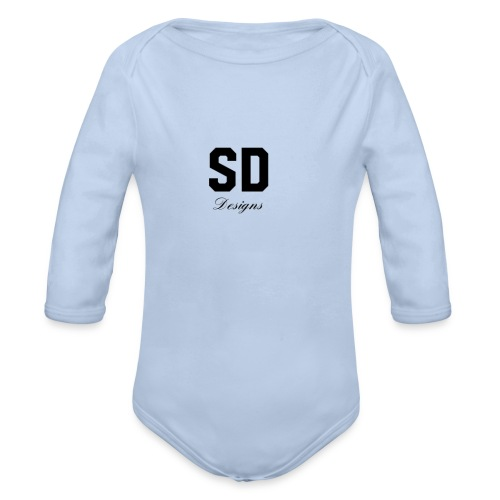 SD Designs blue, white, red/black merch - Organic Long Sleeve Baby Bodysuit