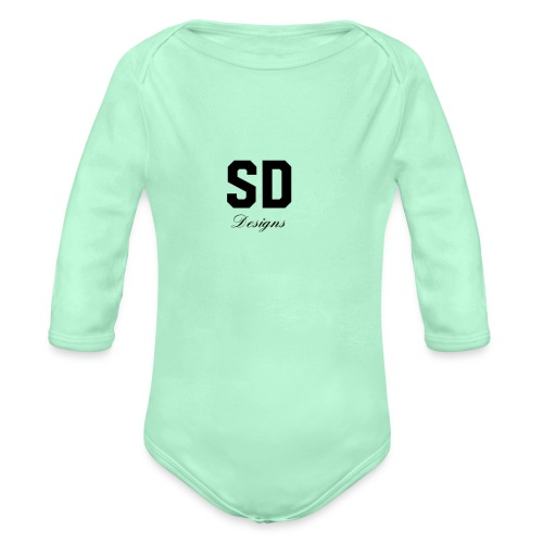 SD Designs blue, white, red/black merch - Organic Long Sleeve Baby Bodysuit
