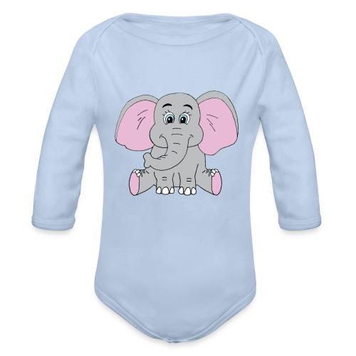 Cute Baby Elephant - Organic Long Sleeve Baby Bodysuit