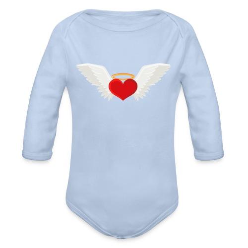 Winged heart - Angel wings - Guardian Angel - Organic Long Sleeve Baby Bodysuit
