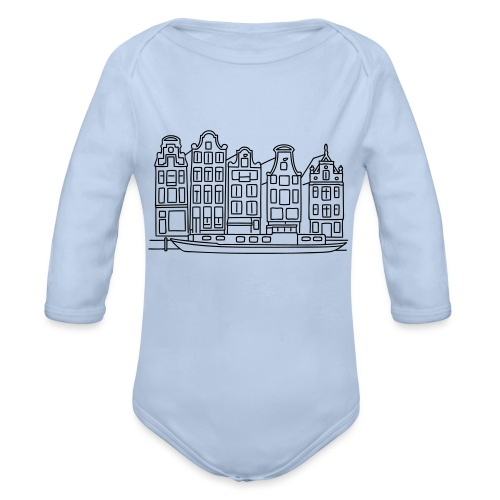 Amsterdam Canal houses - Organic Long Sleeve Baby Bodysuit