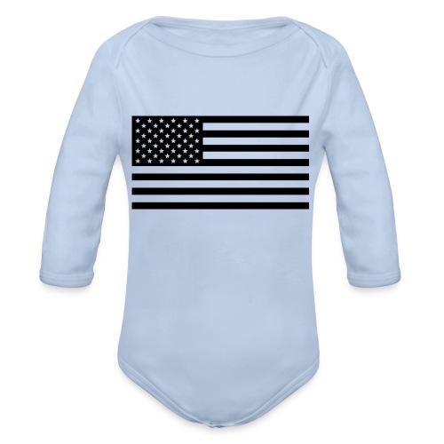 American Flag - Organic Long Sleeve Baby Bodysuit