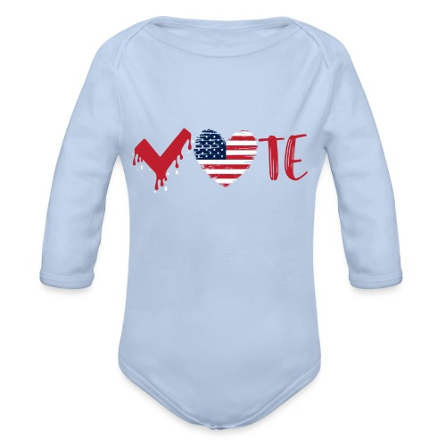 vote heart red - Organic Long Sleeve Baby Bodysuit