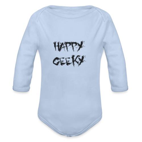 Happy_Geeky_-_Logo_Black - Organic Long Sleeve Baby Bodysuit