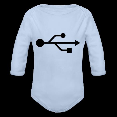Small USB Logo Left Chest - Organic Long Sleeve Baby Bodysuit