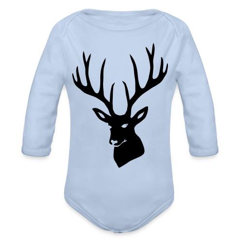 stag night deer buck antler hart cervine elk - Organic Long Sleeve Baby Bodysuit