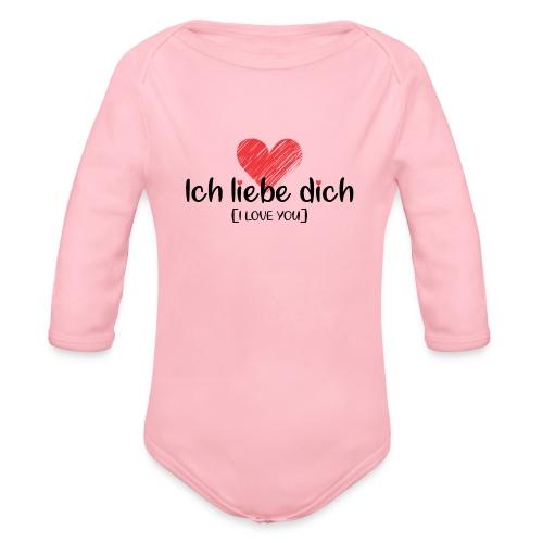 Ich liebe dich [German] - I LOVE YOU - Organic Long Sleeve Baby Bodysuit