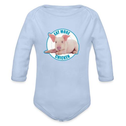 Eat more chicken - Sweet piglet print - Organic Long Sleeve Baby Bodysuit