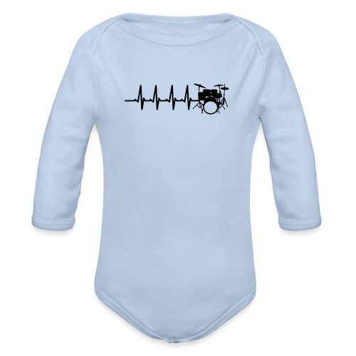 Drums Heartbeat Funny drummer - Organic Long Sleeve Baby Bodysuit