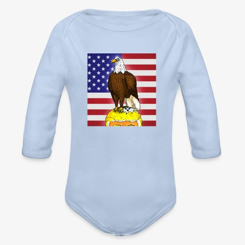 Patriotic Bald Eagle Dumps on Trump - Organic Long Sleeve Baby Bodysuit