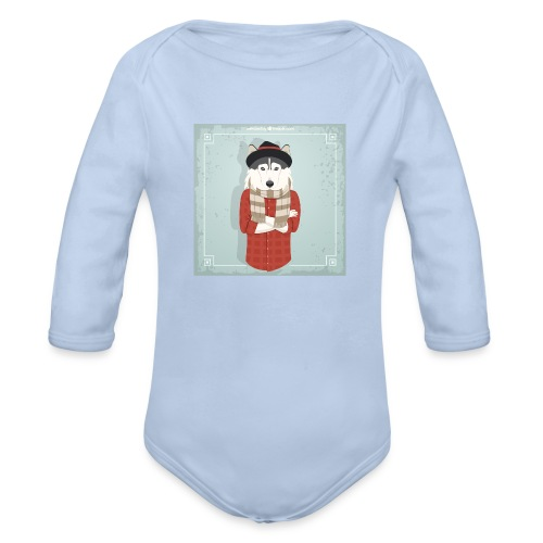 Hispter Dog - Organic Long Sleeve Baby Bodysuit