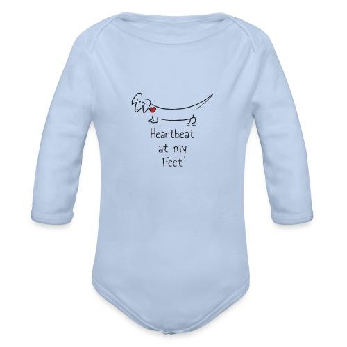 Heartbeat at my Feet - Organic Long Sleeve Baby Bodysuit