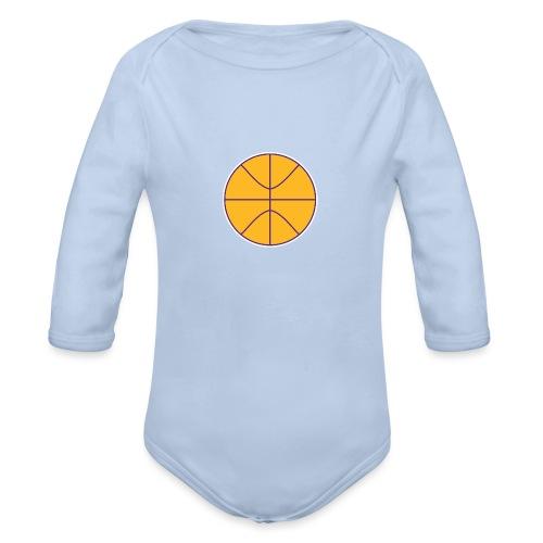 Basketball purple and gold - Organic Long Sleeve Baby Bodysuit