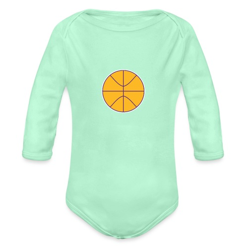 Basketball purple and gold - Organic Long Sleeve Baby Bodysuit