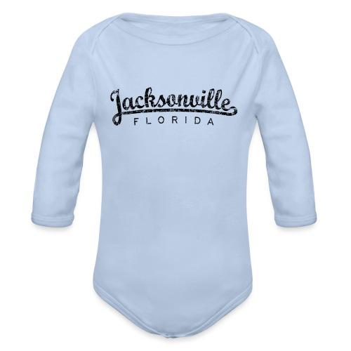 Jacksonville, Florida Classic (Ancient Black) - Organic Long Sleeve Baby Bodysuit
